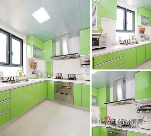 厨房的风格很清新亮丽,光线很好