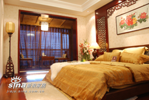 中式 三居 卧室图片来自用户2757926655在湖景一号中式样板间46的分享