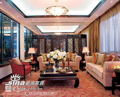 中式 别墅 客厅图片来自wulijuan_16在浙江水木清华别墅示范单位18的分享