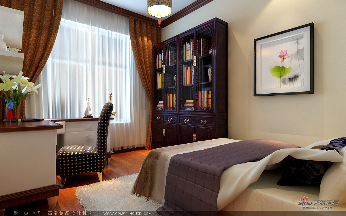 中式 二居 书房图片来自用户1907662981在97平新中式风格设计60的分享