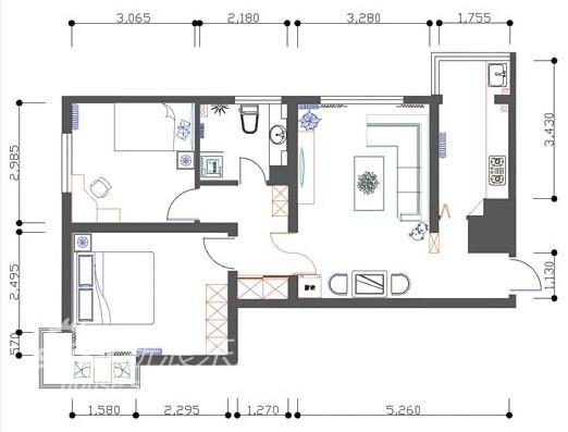 简约 二居 户型图图片来自用户2738093703在花与圆36的分享