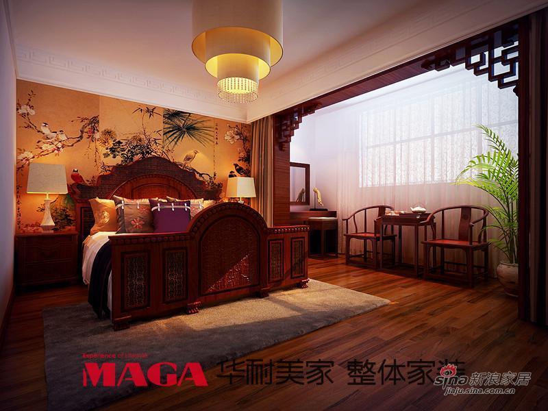 中式 别墅 卧室图片来自用户1907658205在50万打造290平高端现代新中式别墅53的分享