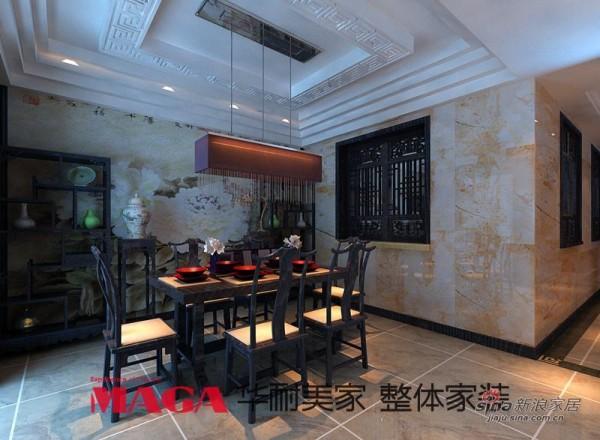 中式 别墅 餐厅图片来自用户1907658205在50万打造290平高端现代新中式别墅53的分享