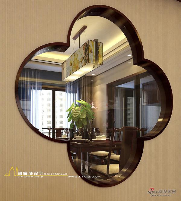 中式风格客餐厅牡丹花隔断设计