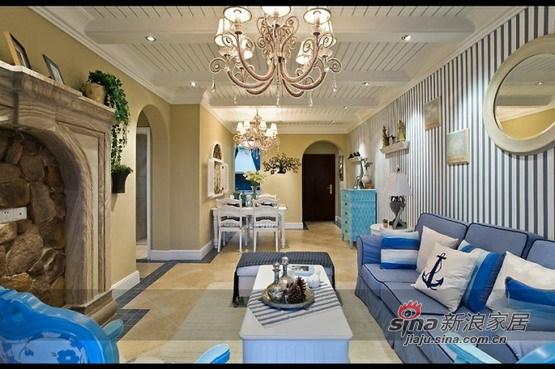 地中海 二居 客厅图片来自用户2756243717在5.8万打造恒祥城100平地中海两居67的分享