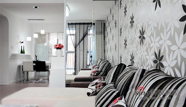 简约 三居 客厅图片来自佰辰生活装饰在87平黑白色搭现代时尚靓家30的分享
