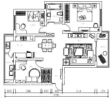 简约 三居 户型图图片来自用户2557010253在三花现代城93的分享
