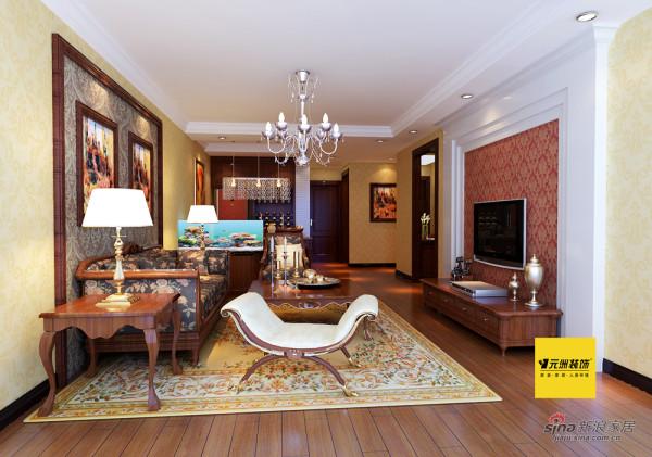 110平米观景园简欧风格二居客厅效果图