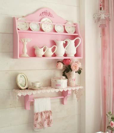 轻田园粉色玫瑰装饰挂架两件套