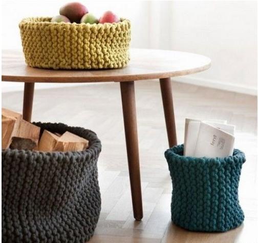 毛线编织的收纳筐