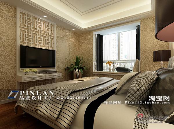 简欧风格温馨主卧电视墙设计