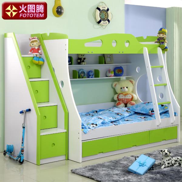 火图腾儿童家具儿童床上下床双层床母子床上下铺儿童高低床子母床 小空间大世界
