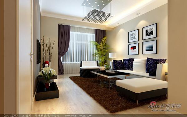 客厅采用了白色和浅咖啡色相搭配,简约大方