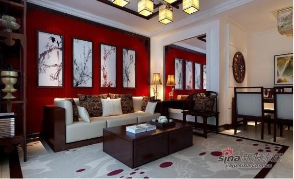 中式--客厅--装修效果图:沙发背景则为