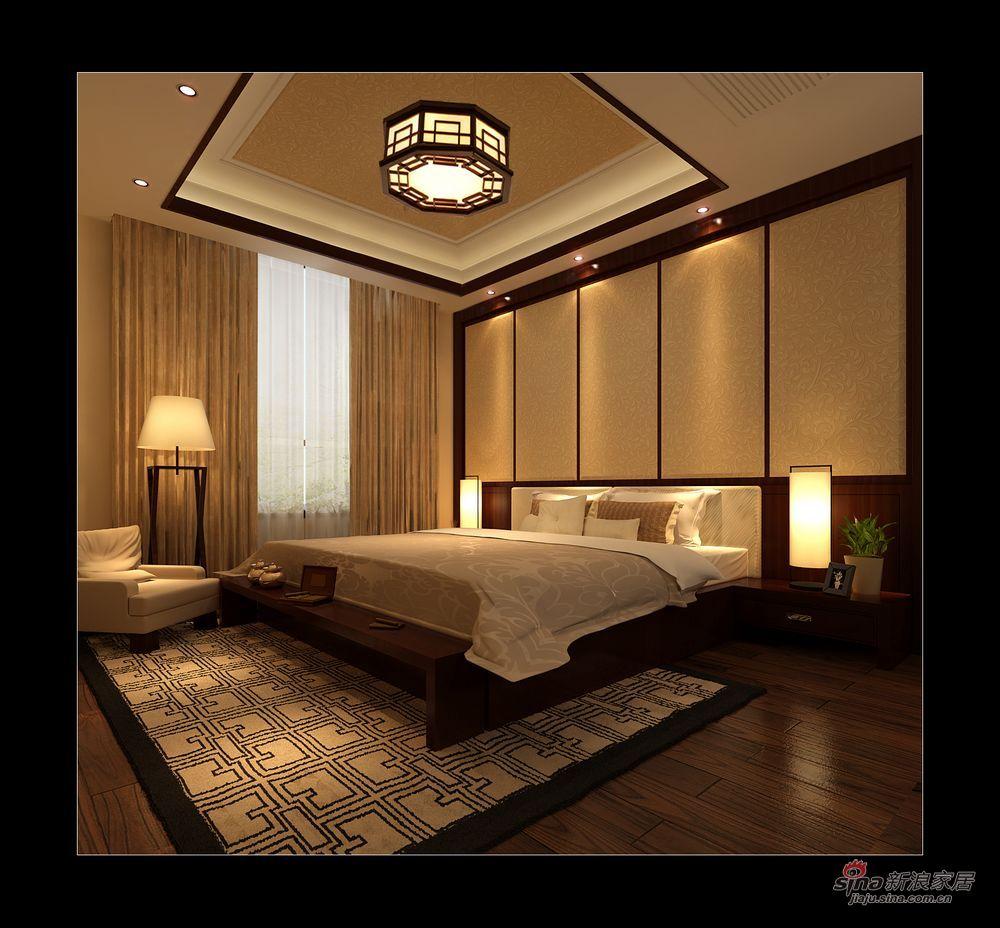 中式 别墅 卧室图片来自用户1907662981在实景230平大气新中式别墅87的分享