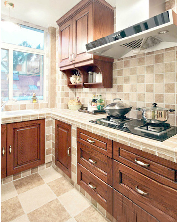 田园 二居 厨房图片来自用户2737791853在20万装110平田园简约混搭舒适居33的分享