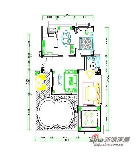 此图为小型度假村,共两室一厅一卫