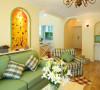 玄关墙壁挖掉一层 做拱形壁画 前面可以放玄关小桌子