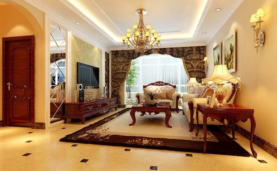欧式 三居 客厅图片来自用户2746889121在140平米华丽欧式3居室82的分享