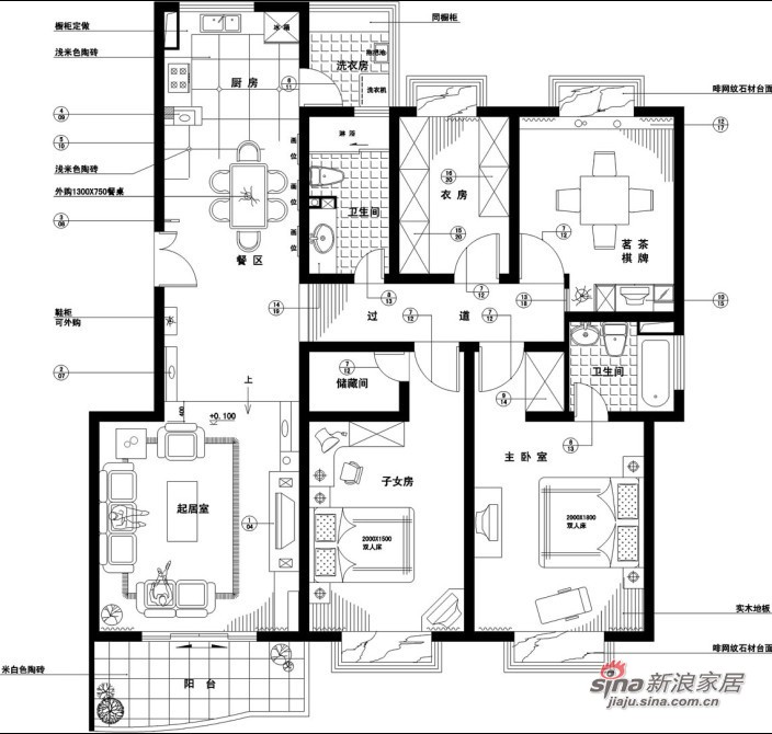 简约 三居 户型图图片来自用户2737759857在上京新航线简约实景照83的分享