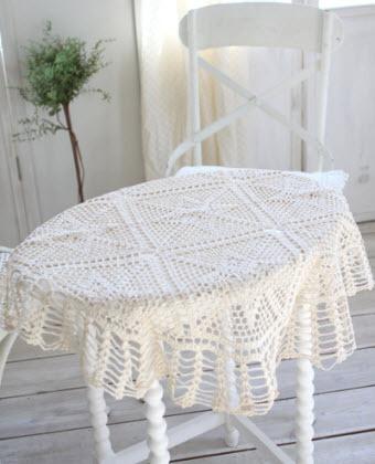 古朴清透棉蕾丝桌布