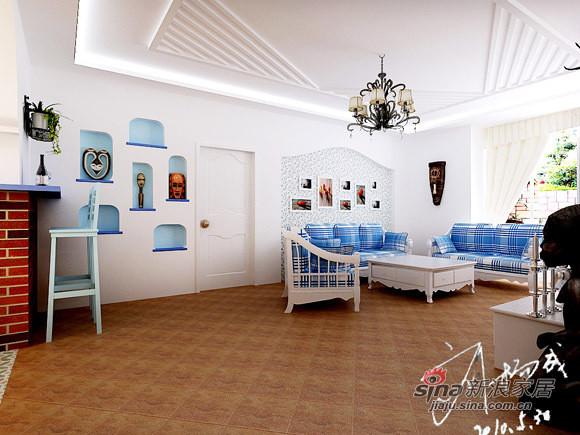 沙发装饰墙,充满地中海风格的壁纸,配合砖