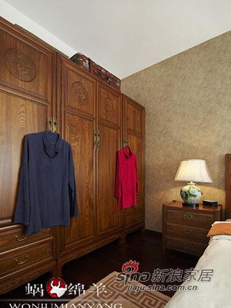 中式 三居 卧室图片来自用户1907659705在4.8万打造67平香艳中式家47的分享