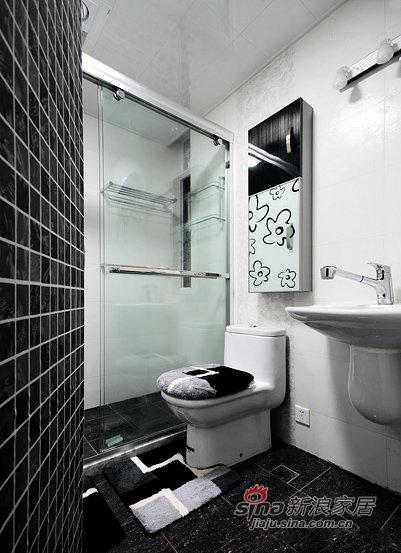 简约 三居 卫生间图片来自佰辰生活装饰在87平黑白色搭现代时尚靓家30的分享