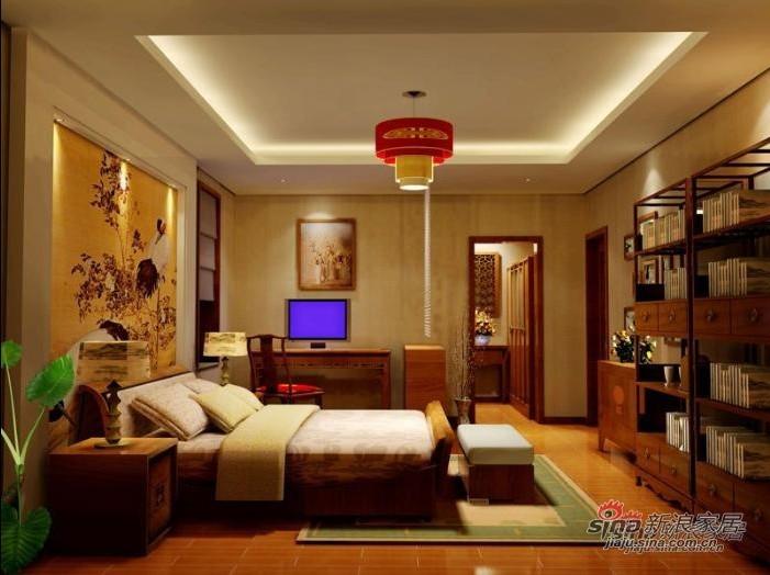 中式 三居 卧室图片来自用户1907659705在140平方全包仅花14万打造中式古典风格16的分享