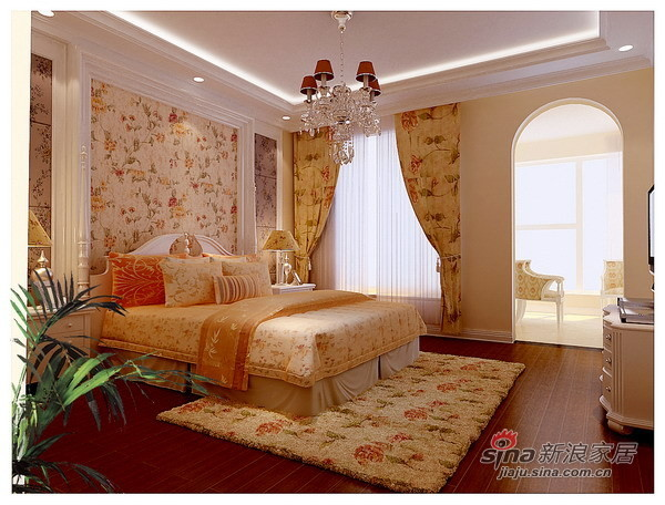 140平时尚浪漫大气简欧风格三居卧室设计