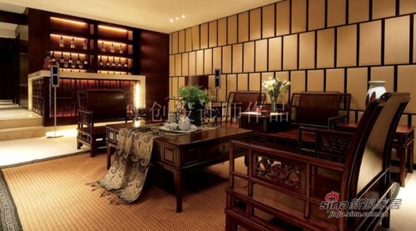 汀湘十里别墅中式风格装修设计-会客厅