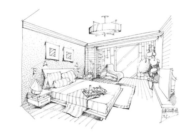 0 卧室手绘图 标签:                欧式           复式