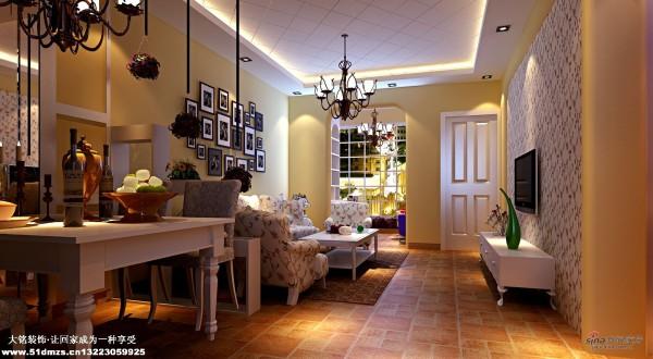 混搭田园风格家庭设计-客厅设计效果图