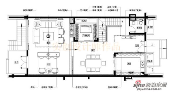 汀湘十里别墅中式风格装修设计-一层布置图