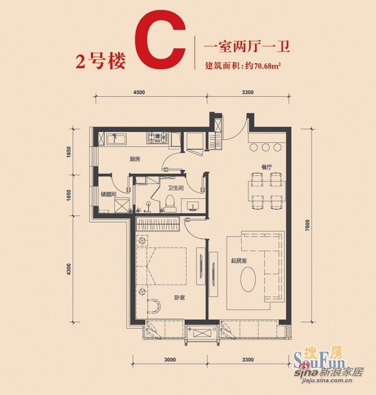 欧式 一居 户型图图片来自用户2772873991在科艺隆装饰一居室新欧式风格17的分享