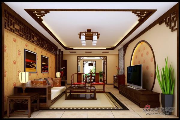 中式 三居 客厅图片来自用户1907696363在130平静谧优雅古典中式三居花8万16的分享