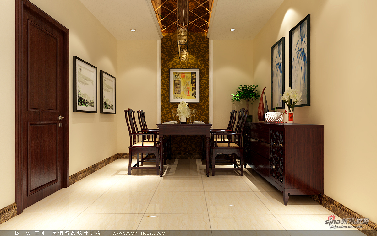 中式 二居 餐厅图片来自用户1907662981在97平新中式风格设计60的分享