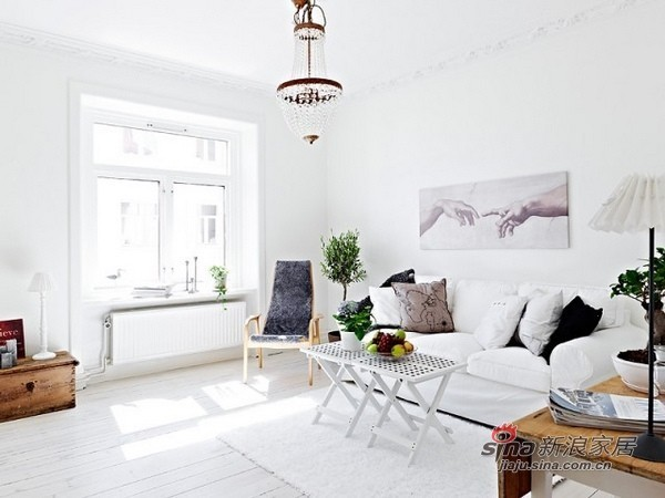 客厅65平米的白色原生态公寓