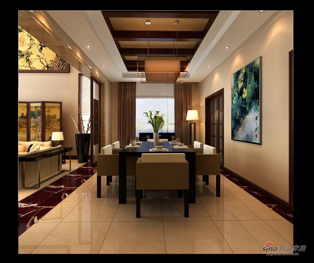 中式 别墅 餐厅图片来自用户1907662981在实景230平大气新中式别墅87的分享