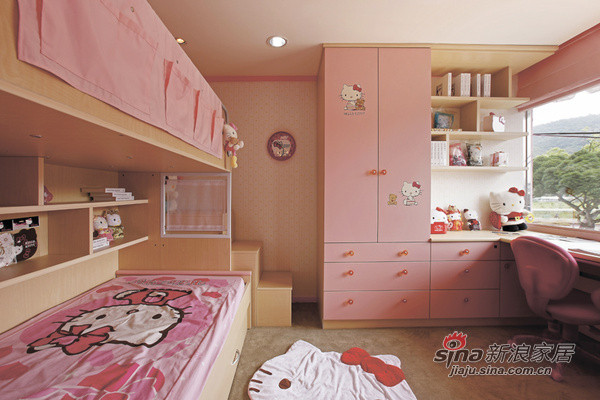 相当日式简约的一款设计,粉色和原木色的搭