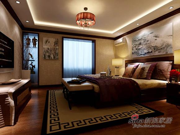 中式 别墅 卧室图片来自用户1907662981在新中式风格缔造200平米别墅稳重大气71的分享