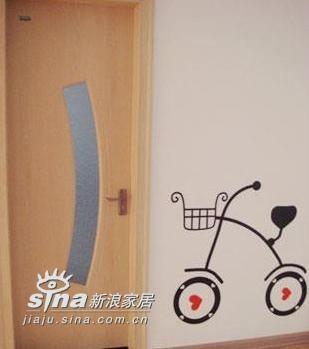 红色桃心自行车墙贴