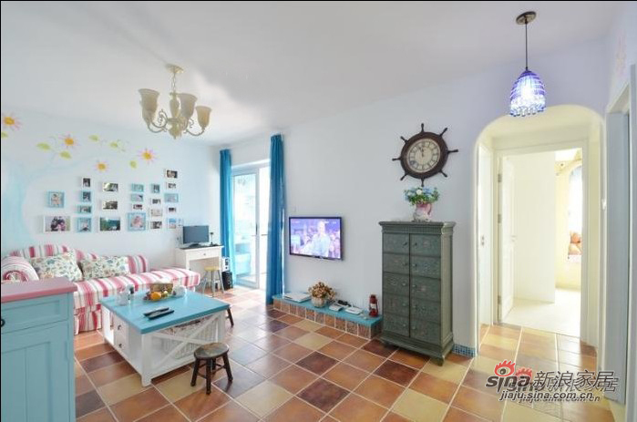 地中海 二居 客厅图片来自用户2756243717在7万旧房改造80平方三居室26的分享