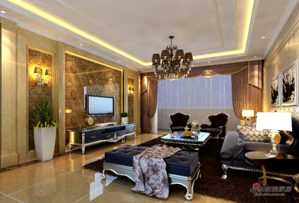 恒盛豪庭客厅装修效果图