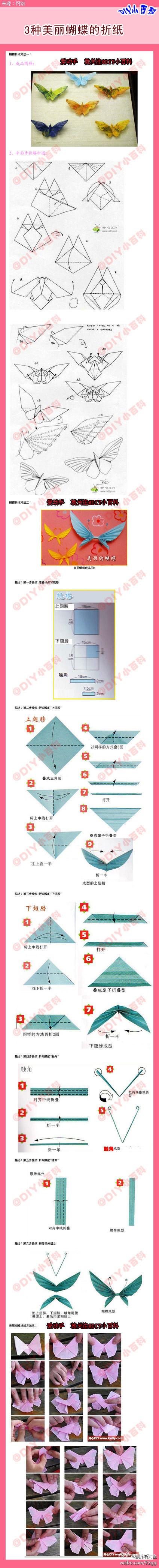 【3种美丽蝴蝶的折纸