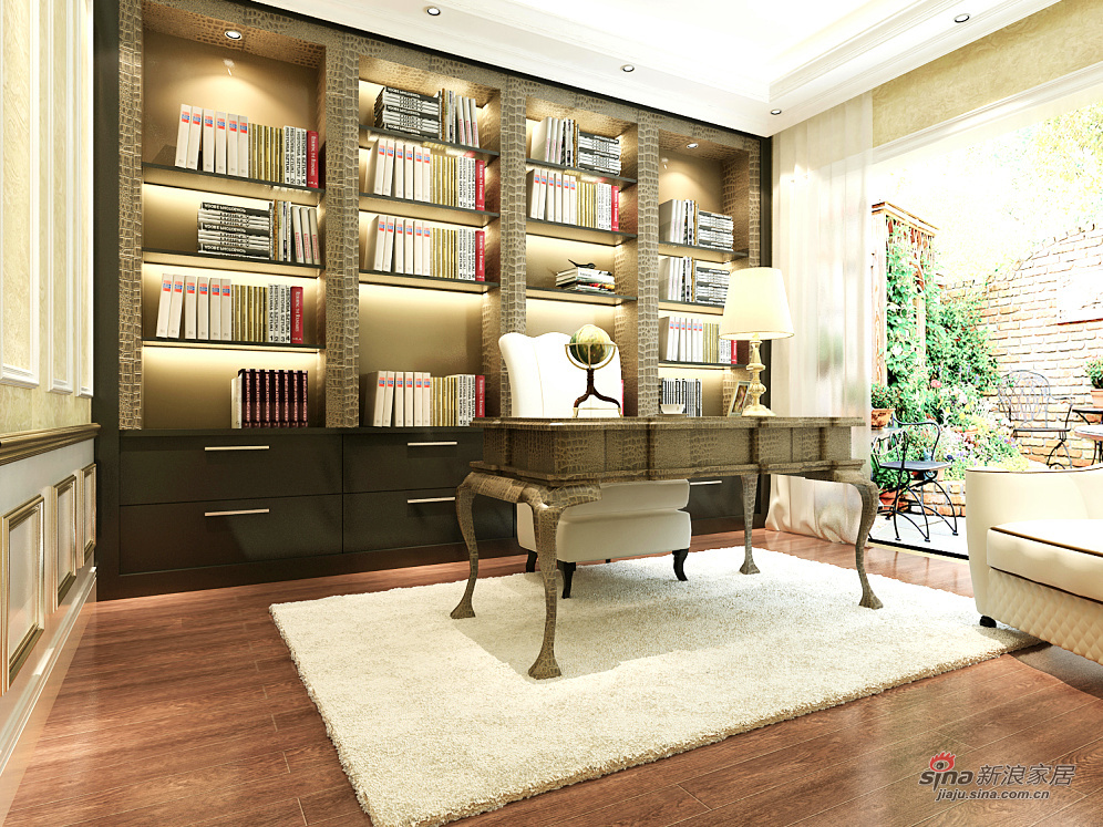 欧式 别墅 书房图片来自用户2746953981在简欧风格36的分享