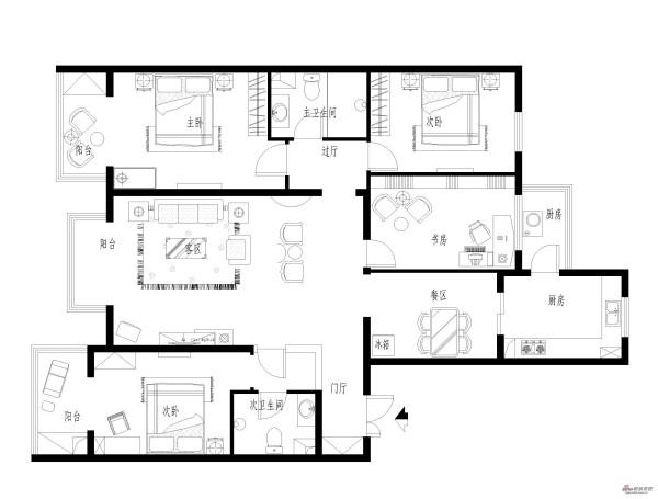 107平保利公园家三居室装修设计
