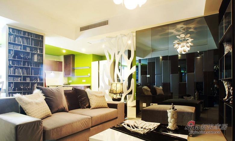 现代 二居 客厅图片来自装修微日记在【高清】10万打造83平黑白现代两居74的分享
