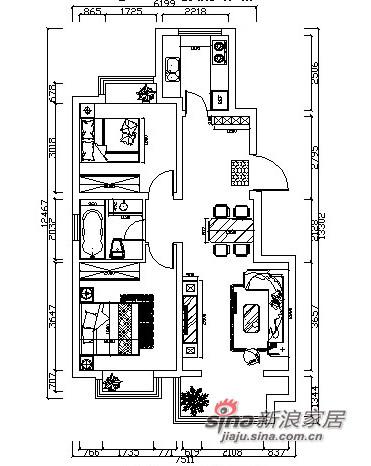 平面图 现代简约 时尚前卫 2室2厅