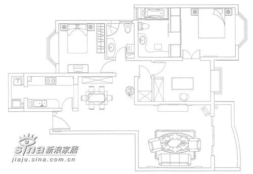 客厅的设计以实用为主,一对壁灯很特别
